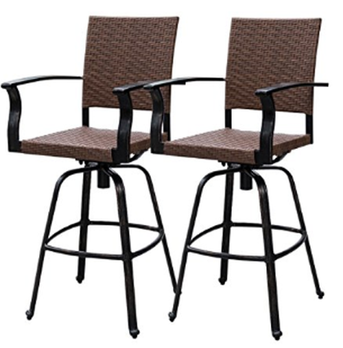 2 Pcs Brown Wicker Counter Height Swivel Bar Stool