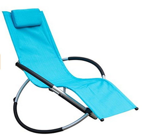 Orbital Zero Gravity Folding Rocking Patio Lounge Chair with Pillow,Capacity 250 Pounds,Blue