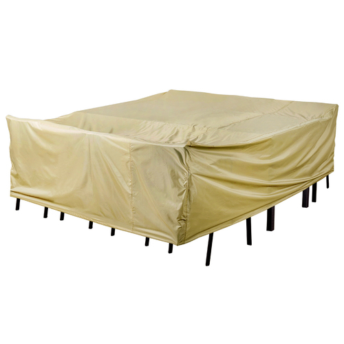 Patio Heavy Duty Stackable Chairs Cover with PVC Coating, fit up to 116L x 79W x 34H inches, Beige