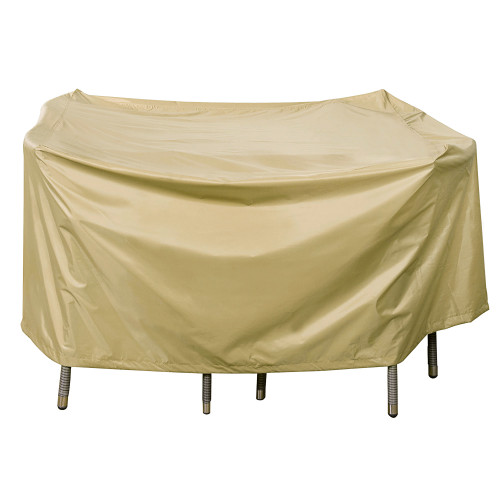 Heavy Duty Square Table Cover with PVC Coating, fit up to 46L x 46W x 28H inches, Beige