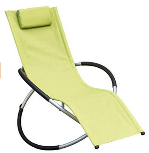 Orbital Zero Gravity Folding Rocking Patio Lounge Chair with Pillow,Capacity 250 Pounds,Green