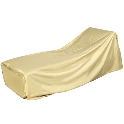 Heavy Duty Patio Day Chaise Lounge Cover with PVC Coating, fit up to 79L x 28W x 25/35H inches, Beige