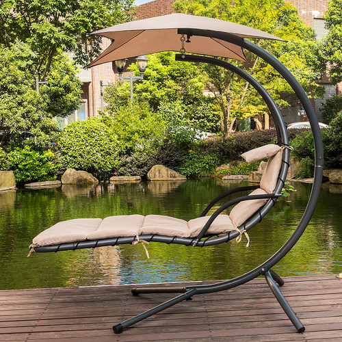 Dream Chair With Umbrella Hanging Chaise Lounge Chair Arc Curved Hammock  (Taupe)