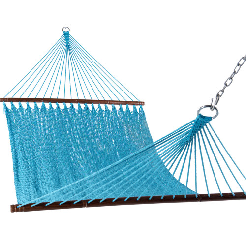 55 inch Double Caribbean Hammock Hand Woven Polyester Rope Outdoor Patio Swing Bed (Sky Blue)