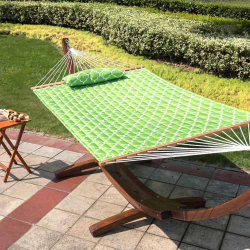 Quilted Fabric Hammock with Poly Pillow Hardwood Spreader Bar Double Size, Apple Green Quatrefoil