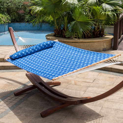 Quilted Fabric Hammock Swing Bed with Hardwood Spreader Bar and Poly Pillow, 55 inch Double