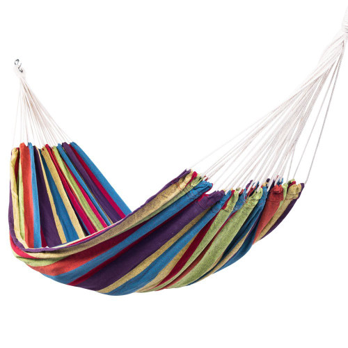 Portable Double Size Canvas Hammock with Carry Bag, 450 Pounds Capacity (Tropical Stripe)