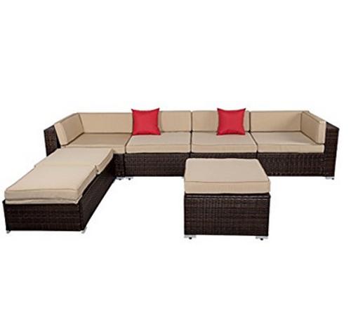 Sundale Outdoor 6 Pieces Wicker Patio Furniture Conversation Set