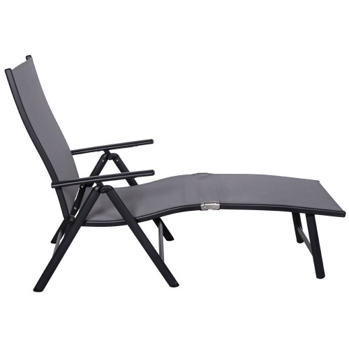 Deluxe aluminum beach yard pool folding chaise lounge for Aluminum folding chaise lounge