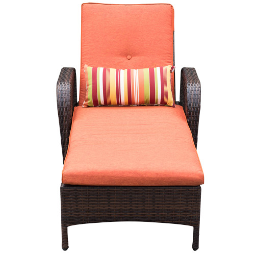 Luxury Reclining Brown Wicker Chaise Lounge Chair Outdoor Patio Yard Furniture All-weather with Cushions and Pillow  sc 1 st  Sundale Outdoor : wicker chaise cushions - Sectionals, Sofas & Couches