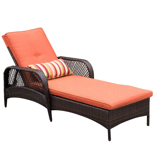 Sundale Outdoor Luxury Reclining Brown Wicker Chaise Lounge Chair Outdoor Patio Yard Furniture All-weather with Cushions and Pillow