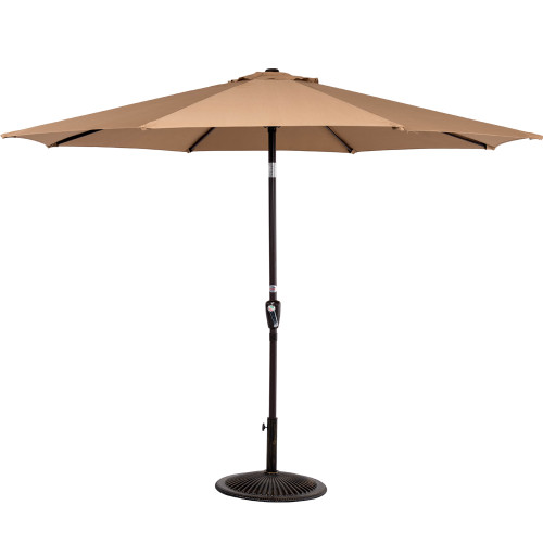 9 Feet Aluminum Patio Umbrella with Crank and Push Button Tilt, 8 Steel Ribs (Tan)
