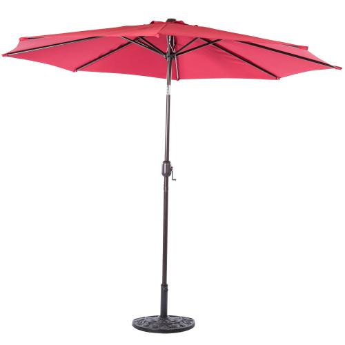 9 Feet Aluminum Patio Umbrella with Crank and Push Button Tilt, 8 Steel Ribs (Red)