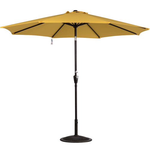 9 Feet Aluminum Patio Umbrella with Crank and Push Button Tilt, 8 Steel Ribs (Yellow)