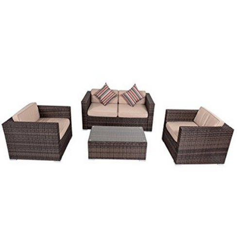 4-piece Wicker Garden Patio Furniture Sofa Set