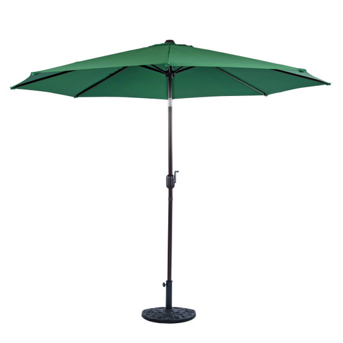 10 Feet Aluminum Patio Umbrella with Crank and Push Button Tilt, 8 Steel Ribs (Dark Green)