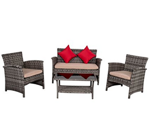 4 Piece Wicker Patio Conversation Set With Cushions