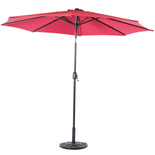 10 Feet Aluminum Patio Umbrella with Crank and Push Button Tilt, 8 Steel Ribs (Red)