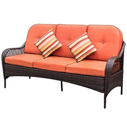 Deluxe Brown Wicker Patio Furniture Sofa 3 Seater Luxury Comfort Wicker Couch with Cushions and Throw Pillows