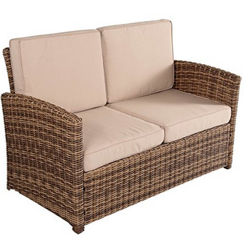 2 Piece Wicker Patio Garden Furniture Loveseat With Table Set