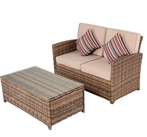 2 Piece Wicker Patio Garden Furniture Loveseat With Table Set