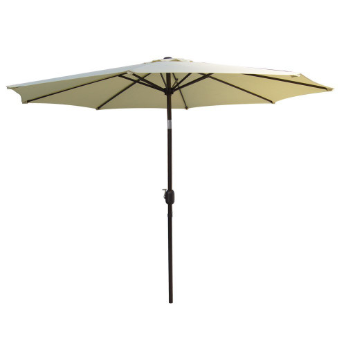 10 Feet Aluminum Patio Umbrella with Crank and Push Button Tilt, 8 Steel Ribs (Light Yellow)