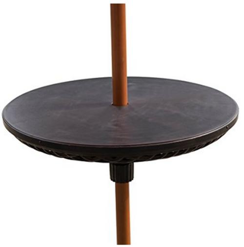 Bliss Umbrella Table Beach Patio Accessory Table, 23in Diameter, Black