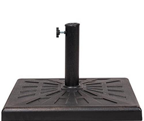 Universal Square Cast Stone Patio Umbrella Base Metal Heavy Duty Stand, Antique Bronze Finish, 20 x 20 x 13 in, 42 lbs