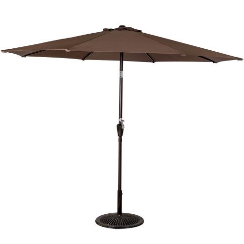 10 Feet Aluminum Patio Umbrella with Crank and Push Button Tilt, 8 Steel Ribs (Coffee)