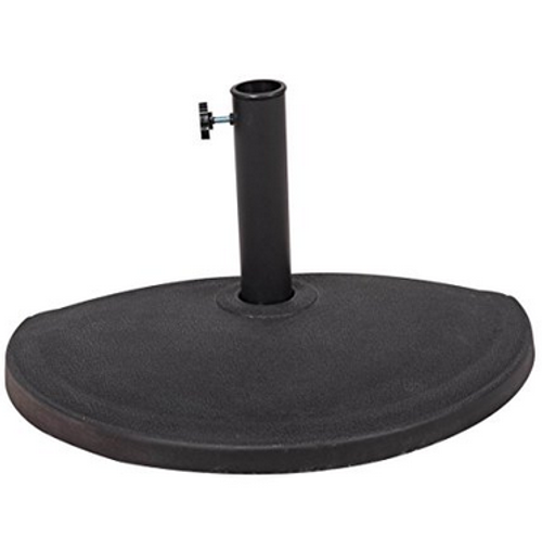 Half Round Resin Umbrella Base for Half Patio Umbrella, Black, 24?L x 12? W x 13.8? H, 33 lbs