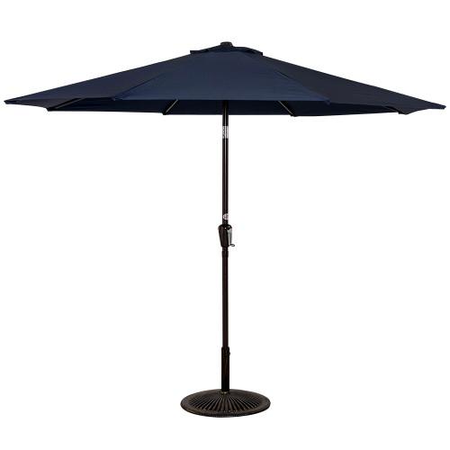 10 Feet Aluminum Patio Umbrella with Crank and Push Button Tilt, 8 Steel Ribs (Navy)