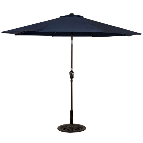 10 Feet Aluminum Patio Umbrella With Crank And Push Button Tilt, 8 Steel  Ribs (