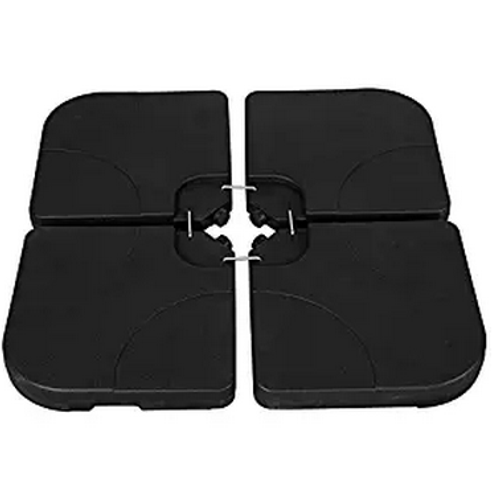 4 Pieces Heavy Duty Plastic Water Sand Cantilever Umbrella Base Stand (Black With Hooks)