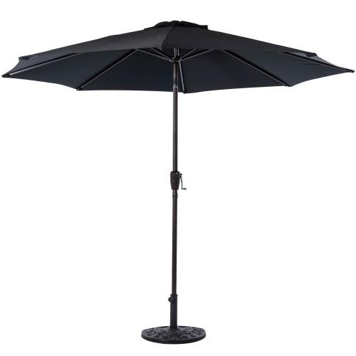 9 Feet Outdoor Aluminum Patio Umbrella with Auto Tilt and Crank(Black)
