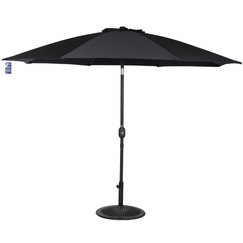 9 Feet Aluminum Patio Umbrella with Crank and Push Button Tilt(Black)