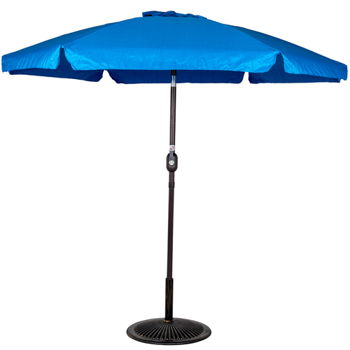 7.5 Feet Aluminum Beach Drape Umbrella with Crank and Push Button Tilt(Blue)