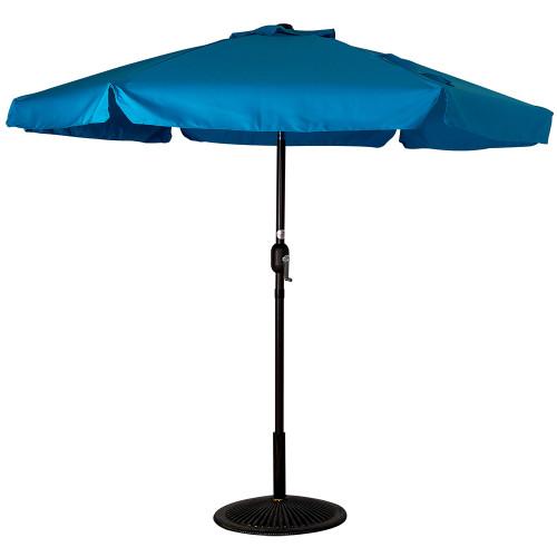 7.5 Feet Aluminum Beach Drape Umbrella with Crank and Push Button Tilt(Lake Blue)