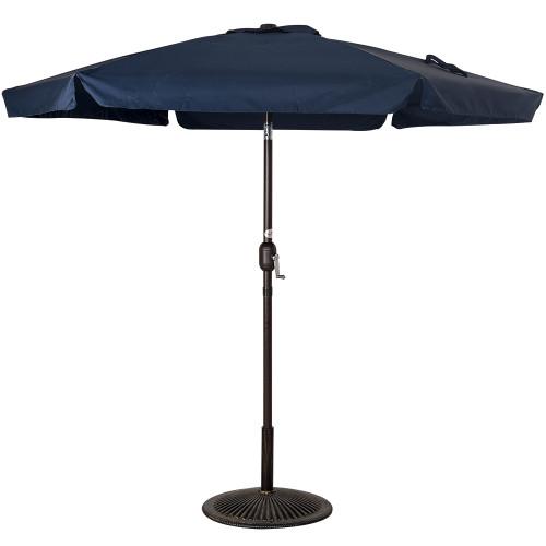 7.5 Feet Aluminum Beach Drape Umbrella with Crank and Push Button Tilt(Navy Blue)