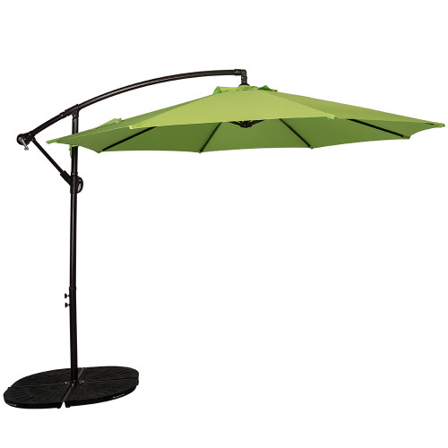 10 Feet Aluminum Offset Patio Umbrella with Crank(Apple Green)