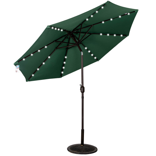 Solar Powered 32 LED Lighted Outdoor Patio Umbrella with Crank and Tilt, 9 Feet, Green