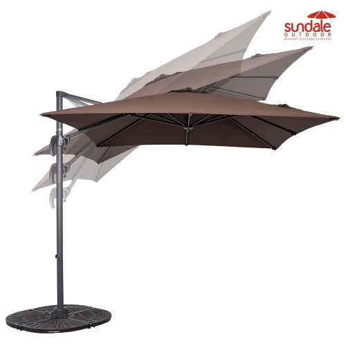 8.2ft Square Hanging Roma Offset Umbrella Outdoor Patio Sun Shade Cantilever Crank Canopy (Coffee)