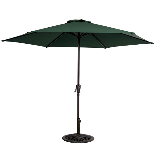 10FT Patio Umbrella Patio Market Steel With Crank Outdoor Yard Garden (Dark Green)