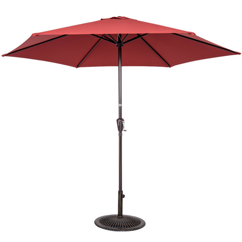 10FT Patio Umbrella Patio Market Steel With Crank Outdoor Yard Garden  (Brick Red)