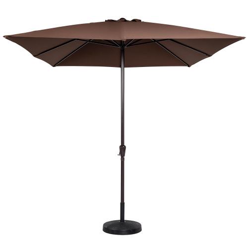 8x11 Ft Rectangular Patio Garden Outdoor Umbrella with Crank, 220g Polyester (Coffee)
