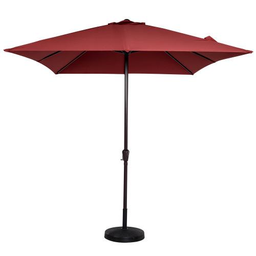 8x11 Ft Rectangular Patio Garden Outdoor Umbrella With Crank 220g Polyester  Brick Red   Rectangular Patio