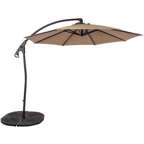 10 Feet Aluminum Offset Patio Umbrella with Hand Push, 8 Steel Ribs (Khaki)