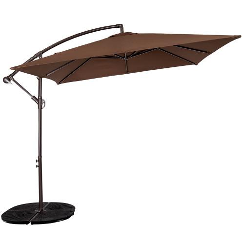 Patio Garden 8.2 x 8.2 FT Square Offset Patio Umbrella with Crank (Coffee)