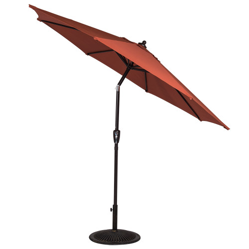 8.2 Ft Olefin Fabric Solution Dyed and UV Resistant Patio Garden Outdoor Market Umbrella with Auto Tilt and Crank, Brick Red