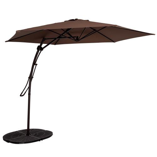 10 Feet Offset Patio Umbrella with Hand Push, 6 Steel Ribs (Coffee)