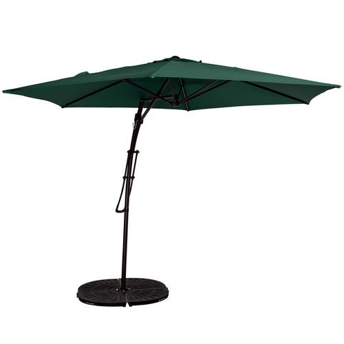 10 Feet Offset Patio Umbrella With Hand Push, 6 Steel Ribs (Dark Green)